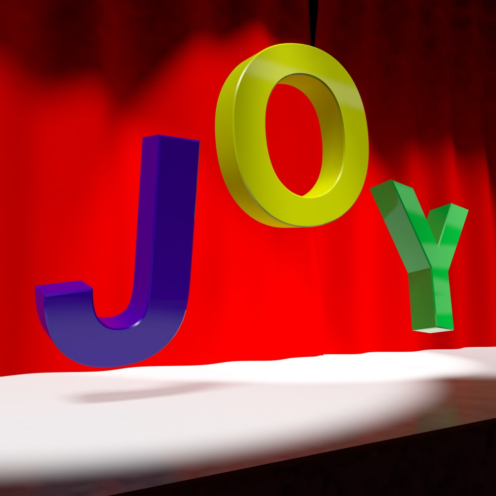 Joy Word On Stage As Symbol For Fun And Enjoyment Acting Jane
