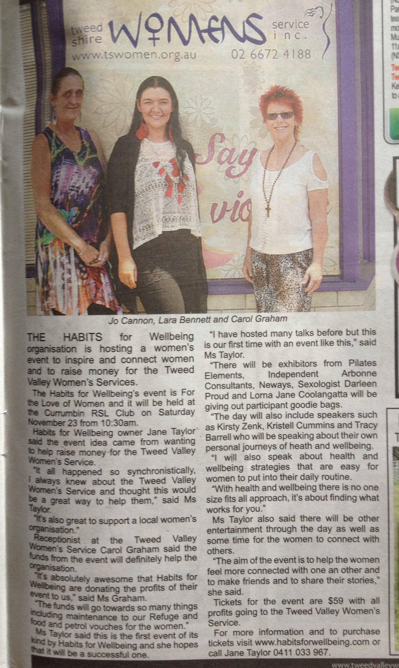 'For the Love of Women' article in Tweed Valley Weekly