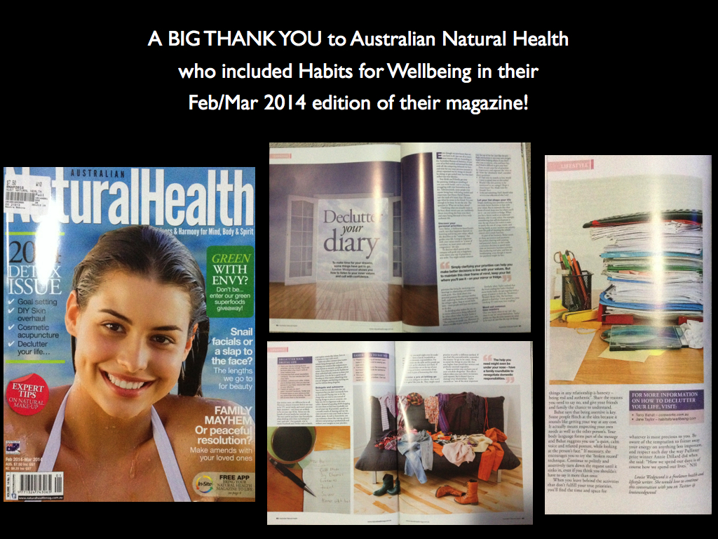 Habits for Wellbeing in Australian Natural Health Magazine Feb Mar 2014