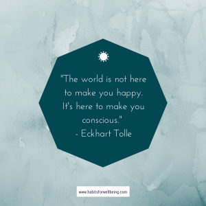 """""""The world is not here to make you happy. It's here to make you conscious."""" - Eckhart Tolle"""