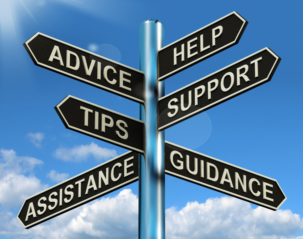 advice help support and tips signpost showing information and